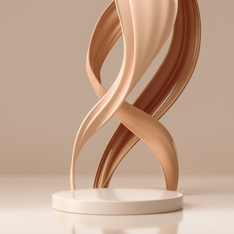Espositore da podio con piedistallo minimo con crema per fondotinta marrone, vetrina da palcoscenico per prodotti di bellezza e cosmetici, illustrazione 3d.