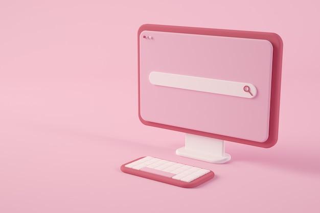 Computer rosa minimo con rendering 3d di ricerca online