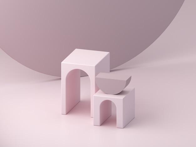Podio rosa minimale per mostrare un prodotto, scena vuota con archi e cilindro sullo sfondo