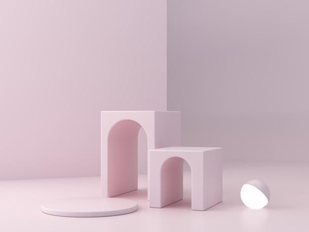 Podio rosa minimale per mostrare un prodotto, scena vuota con archi e luce sferica