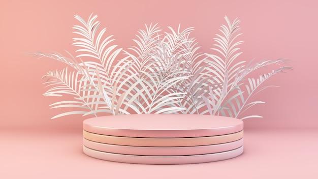 Podio rosa minimo con foglie di palma