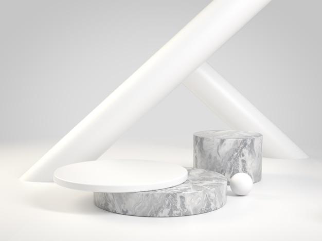 Il marmo minimo del podio con il fondo bianco 3d del cilindro rende