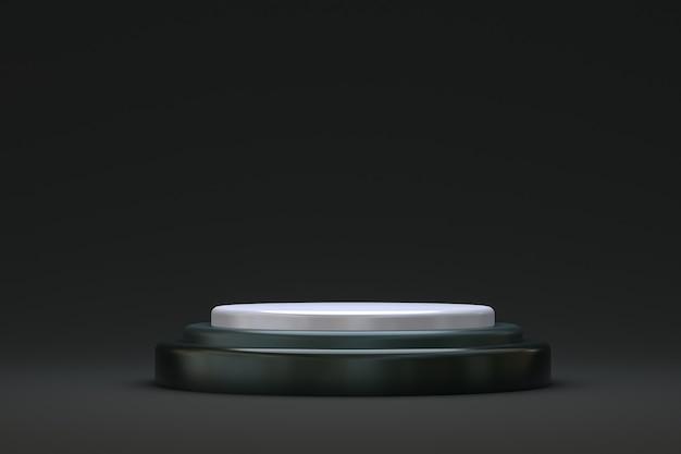 Display minimo su podio o piedistallo su sfondo nero per la presentazione del prodotto cosmetico