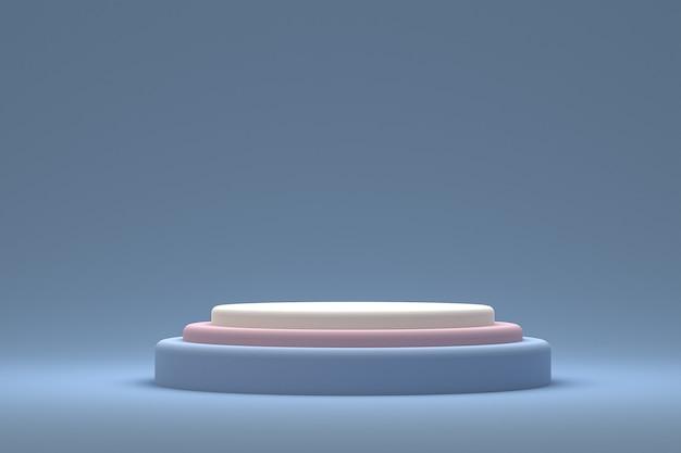 Display minimo su podio o piedistallo su sfondo blu per la presentazione del prodotto cosmetico