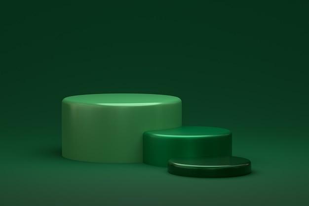 Display minimo su podio o piedistallo su sfondo verde per la presentazione del prodotto cosmetico