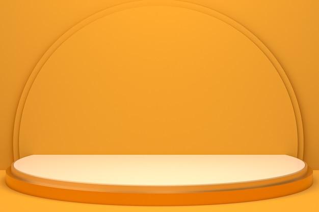 Display minimo su podio o piedistallo su sfondo arancione per la presentazione del prodotto cosmetico