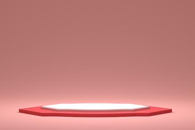 Podio minimo o display a piedistallo su sfondo rosa per la presentazione di prodotti cosmetici