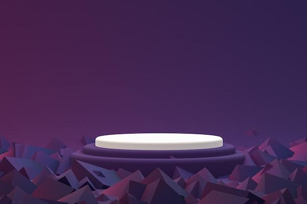 Display minimo su podio o piedistallo su sfondo viola per la presentazione del prodotto cosmetico