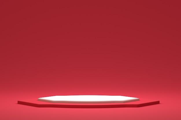 Display minimo su podio o piedistallo su sfondo rosso per la presentazione del prodotto cosmetico