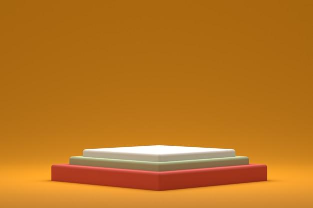 Display minimo su podio o piedistallo su sfondo giallo per la presentazione del prodotto cosmetico