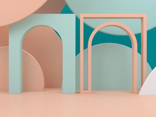 Podio minimale per mostrare un prodotto in scena vuota con archi e forme primitive
