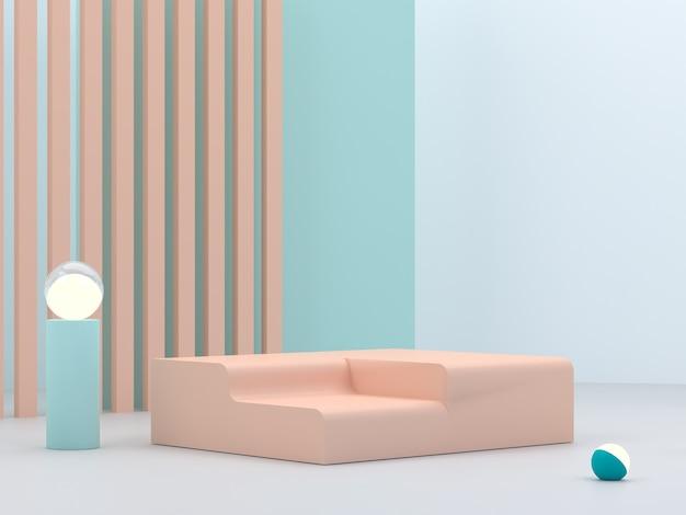 Podio minimale per mostrare un prodotto in scena vuota con luci e forme primitive