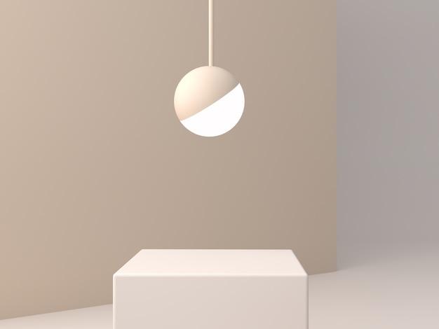 Podio minimo per mostrare un prodotto nella scena vuota con luci sferiche e colori pastello