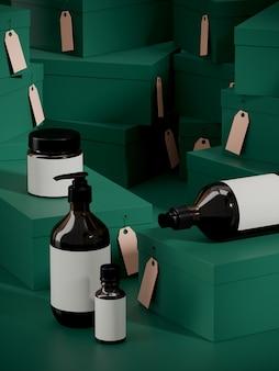 Regalo minimo di offerta speciale e grande stagione di vendita. bottiglia cosmetica sul podio e pila verde di scatole regalo in cartone. illustrazione di rendering 3d.
