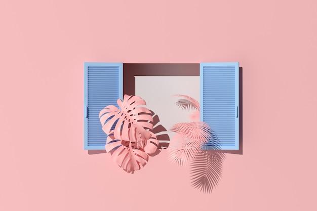 Scena minima di finestra blu e piante su sfondo muro rosa