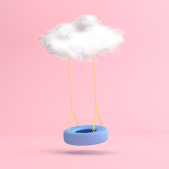 Scena minima di pneumatico oscillante blu galleggiante con la nuvola bianca.