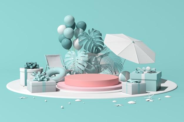 Scena minima di podio rotondo geometrico con palloncini e pianta per la presentazione del prodotto, concetto estivo, rendering 3d.