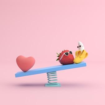 Scena minima di cuore e fragola con banana sulla sedia a dondolo