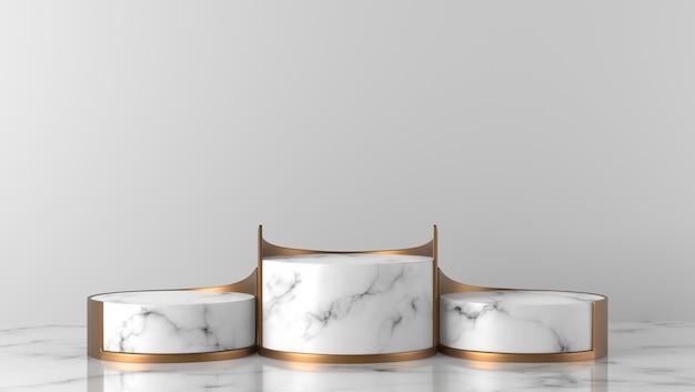 Podio di lusso della vetrina del cilindro di marmo bianco di lusso tre di scena minima nel fondo bianco