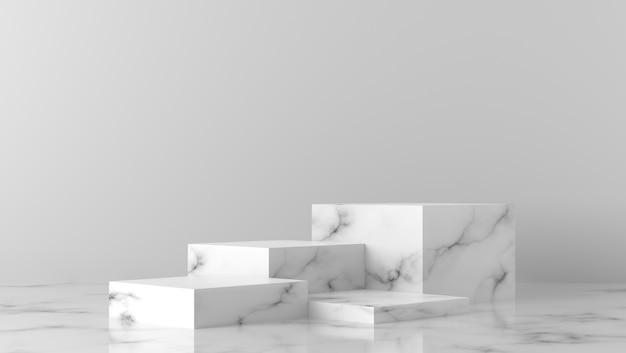 Podio di lusso bianco della vetrina della scatola di marmo di scena minima nel fondo bianco