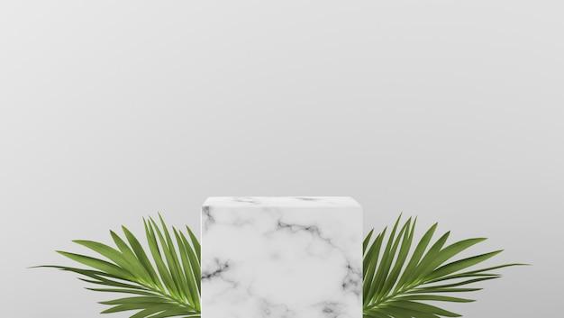 Podio e foglie di palma di lusso della vetrina del cilindro di marmo bianco minimo di scena nel fondo bianco