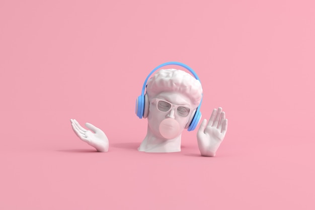 Scena minima di occhiali da sole e cuffie sulla scultura della testa umana, concetto musicale, rendering 3d.