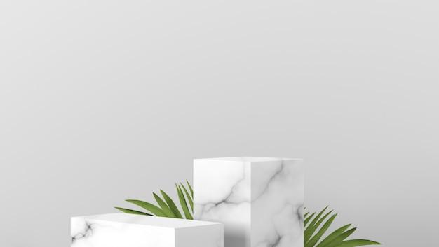 Podio e foglie di palma di lusso della vetrina della scatola di marmo bianca minima di scena due nel fondo bianco
