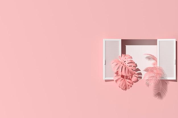 Scena minima di finestra bianca e piante su sfondo muro rosa