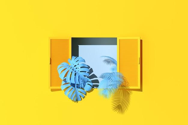 Scena minima di finestre e piante blu su sfondo giallo muro