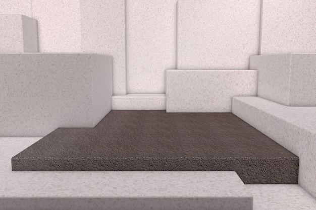 Scena minimale con muro di cemento