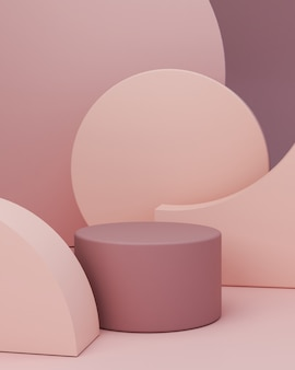 Scena minimale con podio a cilindro, forme geometriche e sfondo astratto in colori pastello