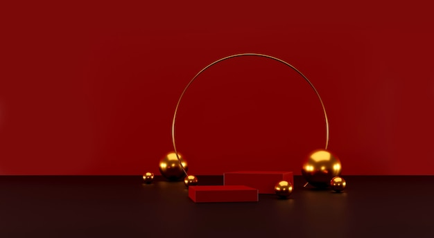 Scena minimale con forme geometriche. display podio cilindro rosso e palla d'oro