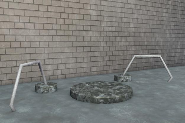 Scena minimale con podio in pietra di marmo