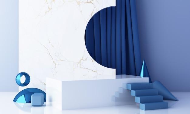 Scena minimale con podio e sfondo astratto. scena blu e bianca. alla moda per banner sui social media, promozione, esposizione di prodotti cosmetici. rendering 3d interni di forme geometriche