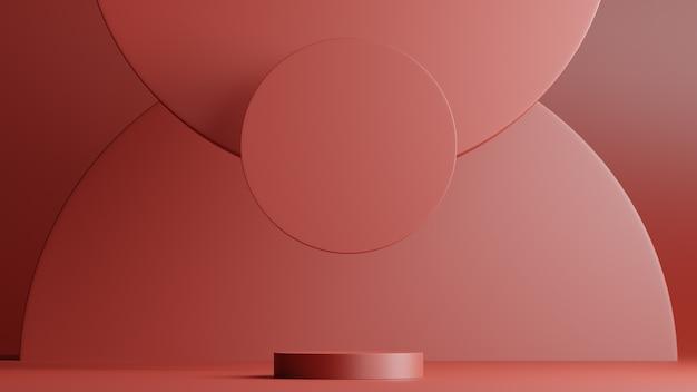 Scena minimale con podio e forme rotonde di sfondo astratto. scena di colori rossi. rendering 3d.