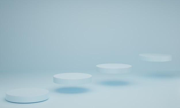 Scena minima con podio su sfondo blu pastello. forma geometrica. scena astratta con forme geometriche. rendering 3d.