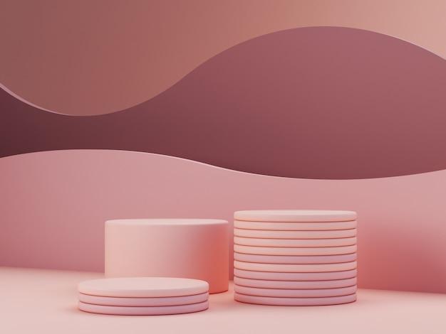 Scena minimale con podio, forme geometriche e sfondo astratto