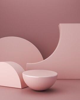 Scena minimale con podio a sfera, forme geometriche e sfondo astratto in colori pastello