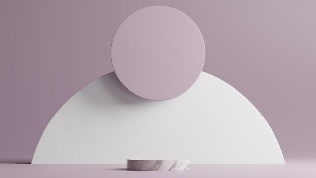 Scena minimale con podio in marmo bianco e forme rotonde di sfondo astratto