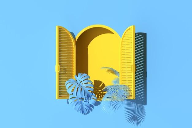 Scena minima di finestra ad arco giallo e piante sul fondo della parete blu. rendering 3d.