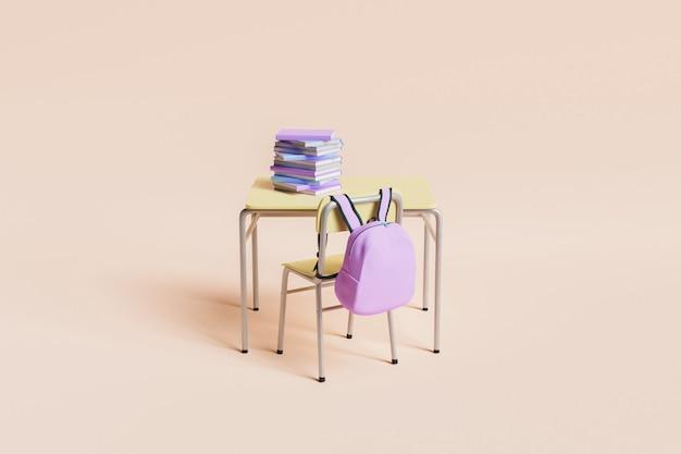 Banco di scuola minimo pieno di libri con zaino rosa appeso alla sedia su sfondo pastello