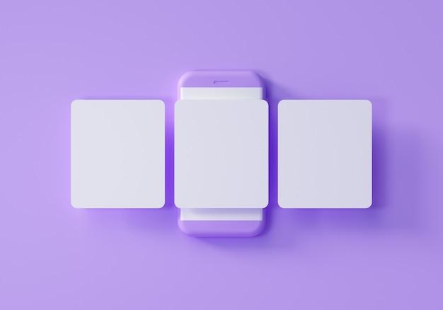 Mockup minimo di social media, smartphone con giostra di interfaccia ed emoji post sul social network su sfondo viola. illustrazione di rendering 3d.