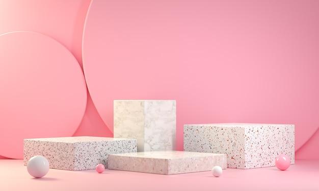 Collezione di display per podio in marmo con gradino minimo su sfondo rosa 3d render