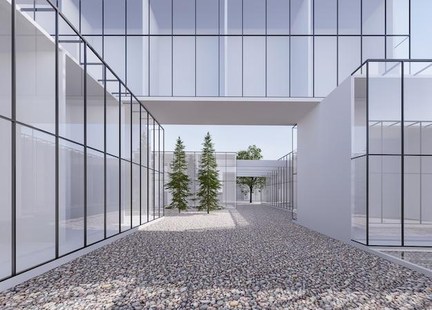Rendering 3d esterno dello spazio dell'edificio in stile minimo, ci sono pareti in erba trasparente con terreno in pietra di fiume river