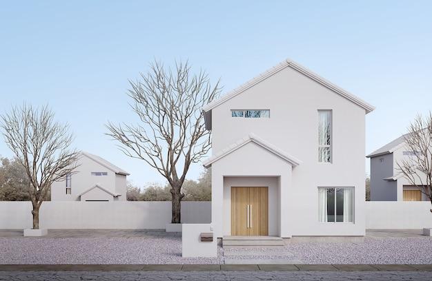 Esterno di una casa bianca in stile minimalefinestra in vetro per tetto a due spioventi e porta in legno con cielo blu