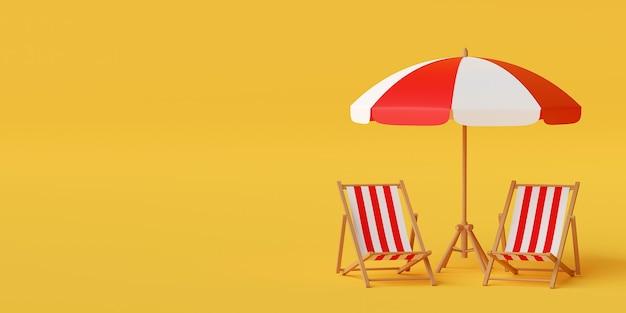 Concetto minimo di vacanza estiva, ombrellone con sedie su sfondo giallo, illustrazione 3d