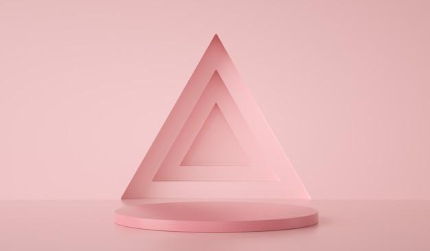 Podio modello minimo su triangolo e sfondo verde