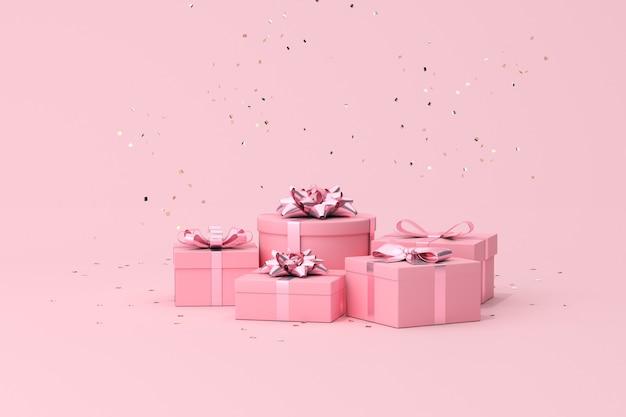 Scena minima alla moda di confezione regalo e particelle di coriandoli dorati, rendering 3d.