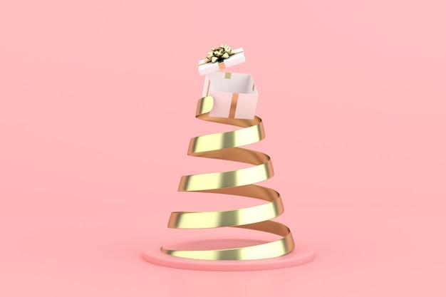 Scena minima alla moda di confezione regalo e nastro a spirale dorato su sfondo rosa, rendering 3d.