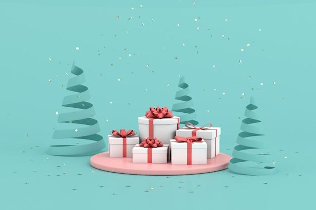 Scena minima alla moda di scatole regalo e particelle di coriandoli dorati su sfondo verde, rendering 3d.